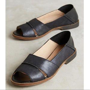 NIB Black Leather Foldover Two Way Slides